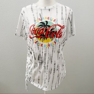 NWT Coca Cola tie dye graphic side tie tee large